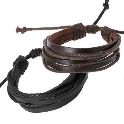 BR0254 BOBIJOO Jewelry Lot of 2 Bracelets Leather Strappy Brown Black