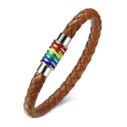 Bracelet LGBT Cuir Marron Caramel Acier Argenté bobijoo