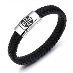 BR0248B BOBIJOO Jewelry Armband Leder Edelstahl Templer Kreuz Pattée 12mm