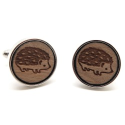 BM0034 BOBIJOO Jewelry Cufflinks Wood Hedgehog Metal