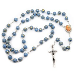 CP0040 BOBIJOO Jewelry Rosary Lourdes Blue Beads Marbled Gold