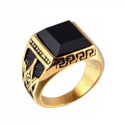 BA0023 BOBIJOO Jewelry Chevalière Bague Acier Doré à l'Or Fin Franc-Maçon Masonic Ring Gold Cabochon Onyx Noir