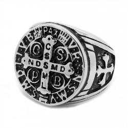 BA0245 BOBIJOO Jewelry Signet Ring Medal Cross, Saint Benedict Templar Steel