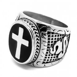 BA0246 BOBIJOO Jewelry Big Knight Cross Ring Catholic Papal Steel