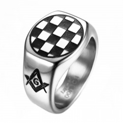 BA0249 BOBIJOO Jewelry Ring Signet Ring Pad Mosaic Symbols Acacia Steel