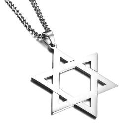 PE0132 BOBIJOO Jewelry Pendant Star of David Steel Shiny 50mm + String