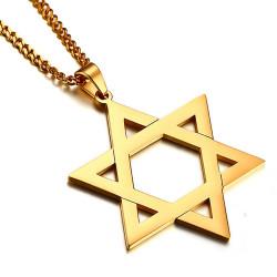 PE0027_NEW BOBIJOO Jewelry Pendant Star of David Steel Bright Gold 50mm + String