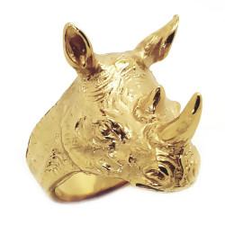 Bague Chevalière Tête de Rhinocéros Acier Or bobijoo
