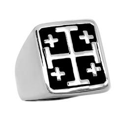 Bague Chevalière Templier Croix de Jérusalem Acier bobijoo