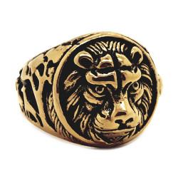 BA0258 BOBIJOO Jewelry Ring Signet ring, Round Lion Head Steel Black Gold