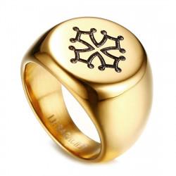 BA0260 BOBIJOO Jewelry Signet Ring Man Cross Occitania Toulouse Steel Gold