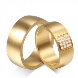 AL0028 BOBIJOO Jewelry Alliance Large Anneau Mixte Doré à l'Or Fin Zirconium