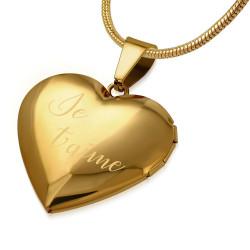 PEF0042 BOBIJOO Jewelry Pendant Heart Door-Photo Choice of Steel + String