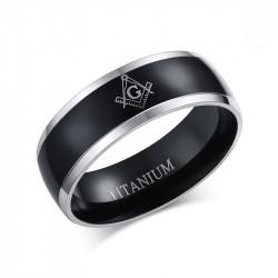 BA0025 BOBIJOO Jewelry Ring Alliance Titanium Plating, Ion Metallic Black Black Man Woman Frank Mason Masonry Masonic
