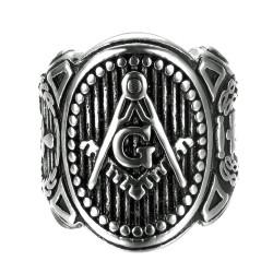 BA0262 BOBIJOO Jewelry Signet Ring Man Freemasonry Symbols Lodge