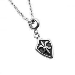 Pendentif Acier Templier Croix Pattée ou Fleur de Lys + Chaîne bobijoo