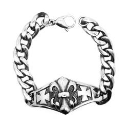 GO0014 BOBIJOO Jewelry Curb catena Bracciale in Acciaio inossidabile Argento Templari Fleur-de-Lys Croce