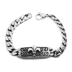 GO0015 BOBIJOO Jewelry Curb chain Bracelet stainless Steel Silver Templar Fleur-de-Lys
