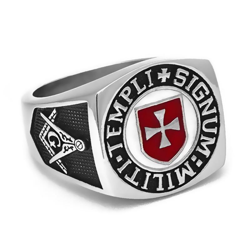 BA0158 BOBIJOO Jewelry Signet Ring Freemason Templar Templi Signum Militi Red