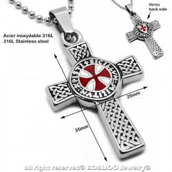 PE0012 Chaine et Pendentif Croix Noire Croix de Malte Celtique Acier Inoxydable