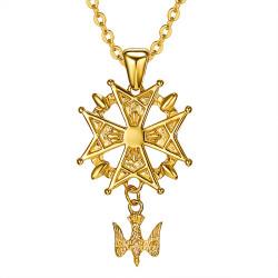 PE0155 BOBIJOO Jewelry Cross Pendant Huguenot Protestant South Steel Gold + Chain