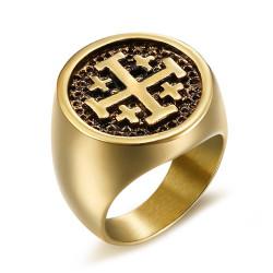 BA0266 BOBIJOO Jewelry Siegelring Ring Templer Mann Reihenfolge Tempel Jerusalem