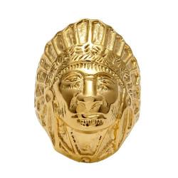 BA0267 BOBIJOO Jewelry Signet Ring Man Indian Head Gold-Plated Steel