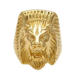 Chevalière Bague Homme Tête de Lion Pharaon Acier Or bobijoo