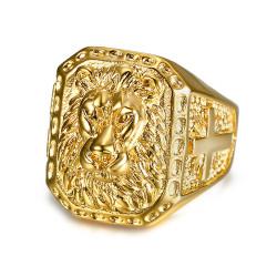 BA0271 BOBIJOO Jewelry Signet Ring Man of Lion-headed Steel Gold Cross
