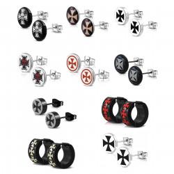 BOH0003 BOBIJOO Jewelry Lot Set x 10 Pairs Loops Ears Man Templar