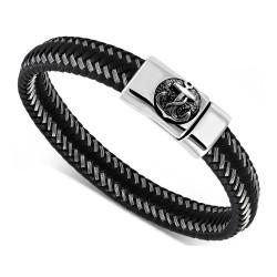 Bracelet Homme Cuir Véritable Noir Acier 316L au Choix bobijoo