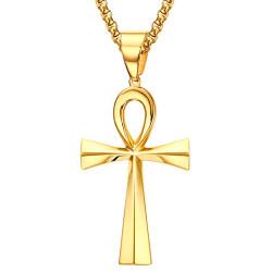 PEF0048 BOBIJOO Jewelry Anhänger Kreuz des Lebens Lady Stahl Gold nach Wahl + Kette