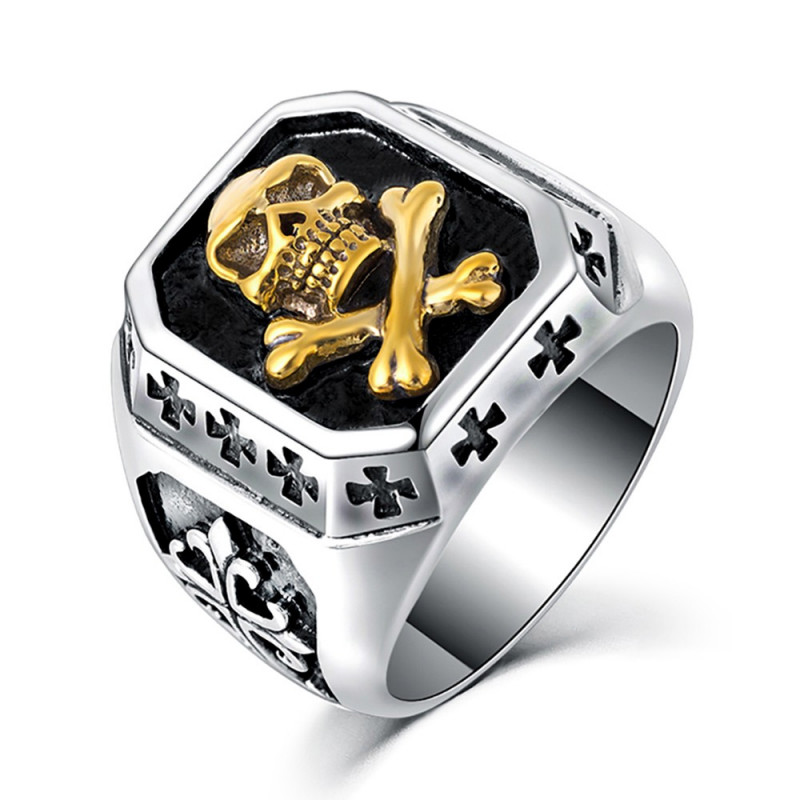 BA0122 BOBIJOO Jewelry Bague Chevalière Tête de Mort Or Croix des Templiers