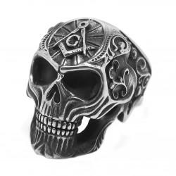 Bague Chevalière Crâne Tête de Mort Franc-Maçonnerie bobijoo