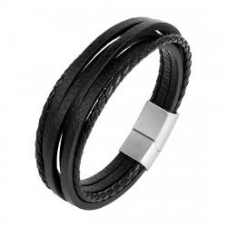 Bracelet Homme Cuir Véritable Acier 316L Multi au Choix bobijoo