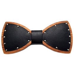 NP0049 BOBIJOO Jewelry Bow tie Evening Wood Black Leather Biker SM