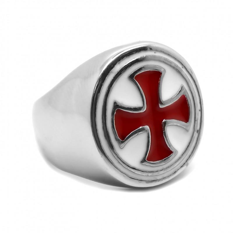 Bague Chevalière Ronde Templier Croix Pattée Rouge bobijoo