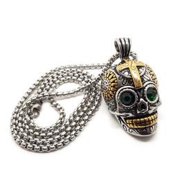 PE0157 BOBIJOO Jewelry Pendant skull stainless Steel Silver Gold Mayan Biker