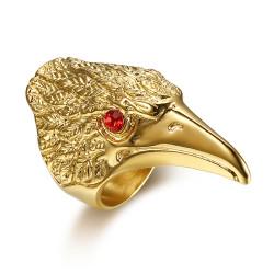 BA0283 BOBIJOO Jewelry Ring Signet ring Eagle Head of Red-Eye Steel Gold