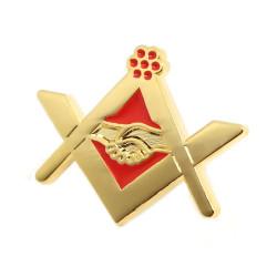 PIN0024 BOBIJOO Jewelry Pin's Franc Maçonnerie Poignée de Main Or Rouge Email