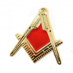 Pin's Franc Maçon Equerre Compas Or Rouge Email bobijoo