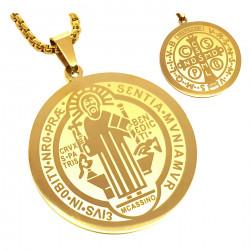 PE0160 BOBIJOO Jewelry Anhänger Medaille Halskette Heiligen Benedikt Stahl Vergoldet + Kette