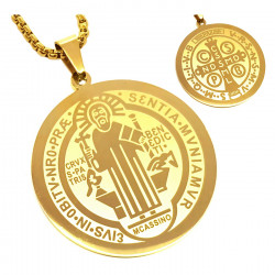 PE0160 BOBIJOO Jewelry Pendant Medal Necklace, St Benedict Gold-Plated Steel + String