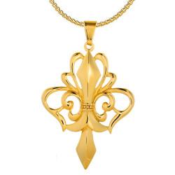 PE0161 BOBIJOO Jewelry Large Pendant Necklace with Fleur-de-Lis Gold-Plated Steel + String