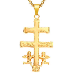 PE0176 BOBIJOO Jewelry Großer Anhänger Kreuz von Caravaca Stahl Vergoldet + Kette
