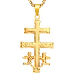 PE0176 BOBIJOO Jewelry Large Pendant Cross of Caravaca Gold-Plated Steel + String