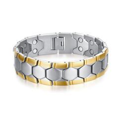 BR0269 BOBIJOO Jewelry Wide Magnetic Bracelet Man Steel, Silver Gold