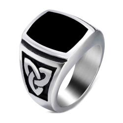 BA0288 BOBIJOO Jewelry Ring Signet Ring Cabochon Steel Celtic Knot