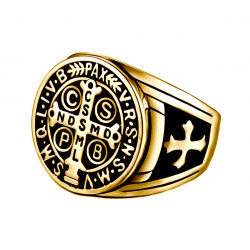 BA0290 BOBIJOO Jewelry Siegelring Ring Kreuz St. Benedikt, Patinierte Gold