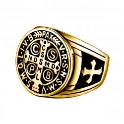 BA0290 BOBIJOO Jewelry Signet Cross Ring Saint Benedict Patina Gold
